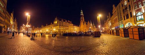 Wrocław, rynek nocą, panorama, uroczyste spotkanie